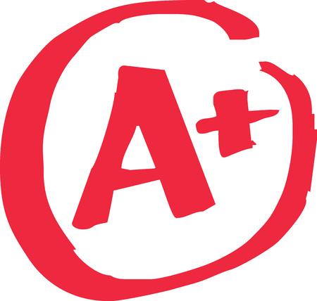 Die obere A-Note für die Prüfung ergibt einen Vektor. Standard-Bild - 79410209