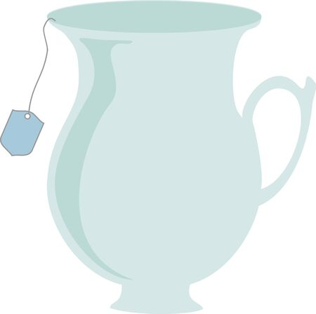 eatery: Teacup in simple vector with teabag hanging out. Illustration