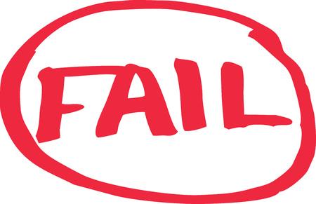 Fail exam grade written in red vector.