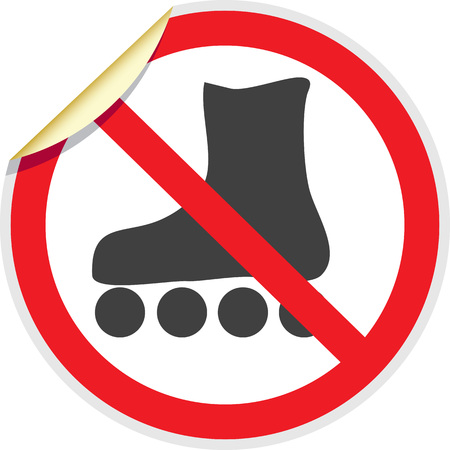 rollerblades: No rollerblades sign in vector depicting banned activities Illustration