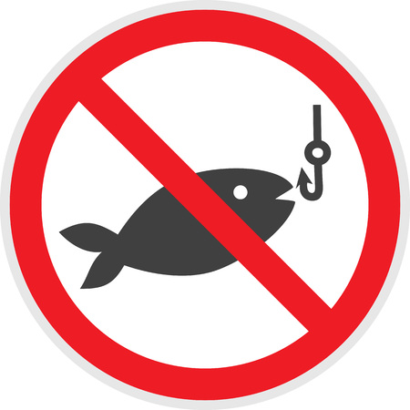 hazard: No fishing sign in vector depicting banned activities