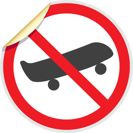 No skateboards sign in vector depicting banned activities Illustration