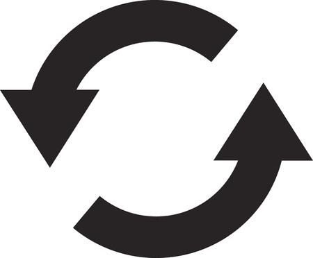 Simple flat design recycle symbol vector in black Illustration