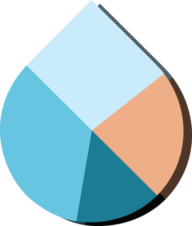 Modern flat design vector water drop pie chart in various colors Illustration