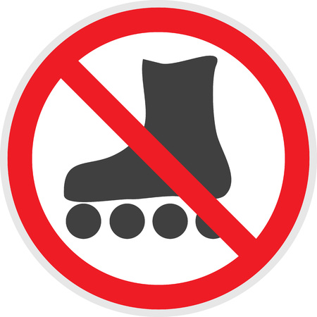 banned: No rollerblades sign in vector depicting banned activities Illustration