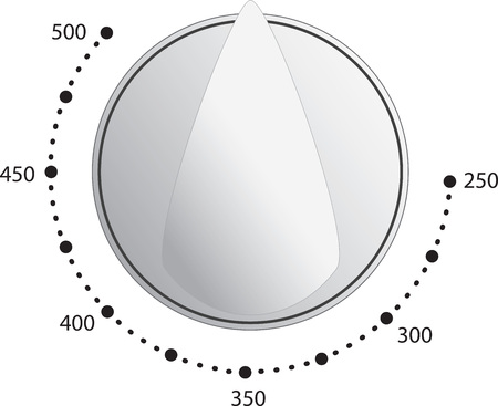 Oven dial vector with temperature measurements Çizim