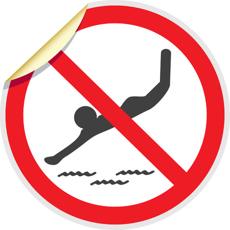 water reflection: No diving sign in vector depicting banned activities
