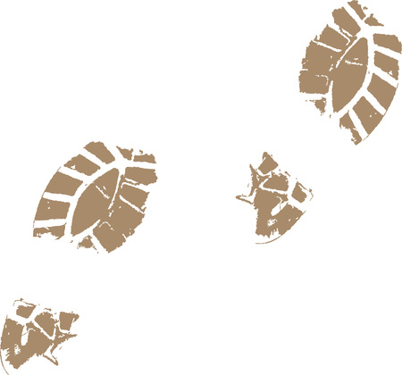 Footprints from a muddy shoe in vector Illustration