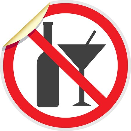banned: No alcohol sign in vector depicting banned activities Illustration