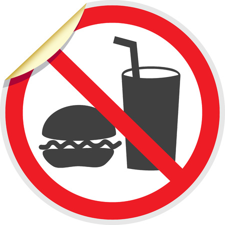 banned: No food or drink sign in vector depicting banned activities