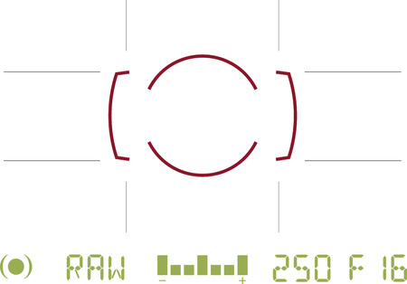 Generic camera viewfinder view looking through lens with camera settings and focus area Illustration