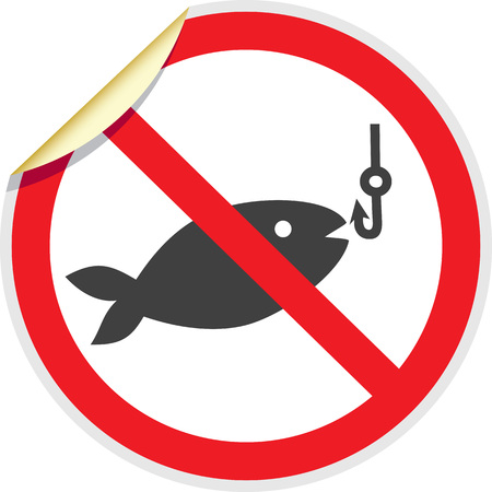banned: No fishing sign in vector depicting banned activities