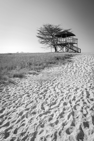 Wooden viewing hut with thatched roof looking out over the Makgadikgadi Pan in Botswana, Africa while on safari in black and white