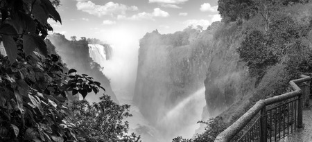 Victoria Falls in Africa, one of the seven wonders of the world in black and white Stock Photo