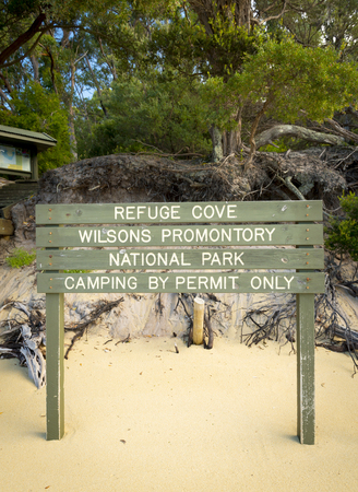 wilsons promontory: Refuge Cove camping sign in Wilsons Promontory National Park, Victoria, Australia