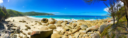 wilsons promontory: Panoramic view of a secluded beach in Wilsons Promontory National Park, Victoria, Australia Stock Photo