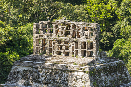 PALENQUE, MEXICO - NOVEMBER 29: Mayan temple ruins featuring ornamental roof comb on November 29, 2016 in Palenque. Palenque was declared a world heritage site by UNESCO in 1987. Editorial