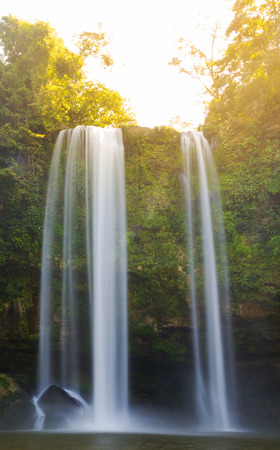 Sunrise on Misol Ha waterfall near Palenque in Chiapas, Mexico Stock Photo