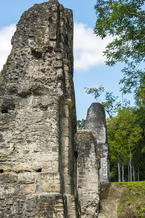 Details of stone work at Tikal in Guatemala Stock Photo
