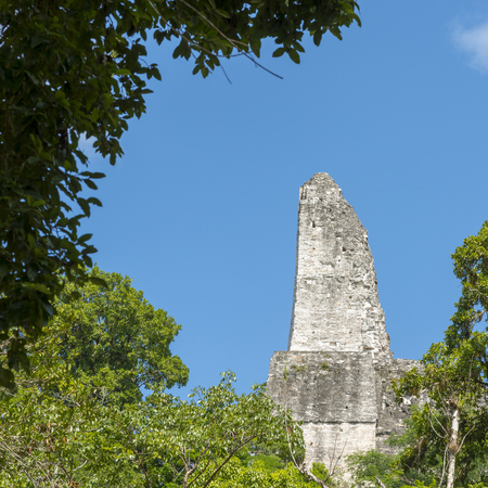 Side view of Temple 4 roof comb in Tikal, Guatemala