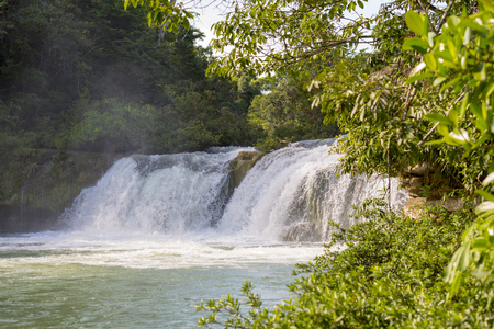 Natural waterfall in Rio Blanco National Park in Toledo Belize