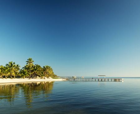 Tropical Caribbean beach destination of Ambergris Caye in Belize Stock Photo