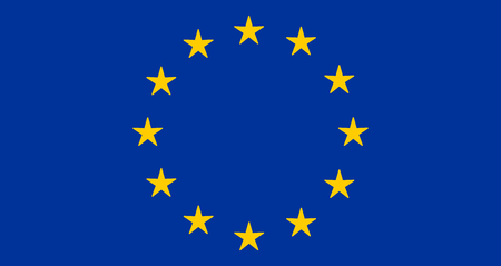 EU or European Union flag design with yellow stars on blue background