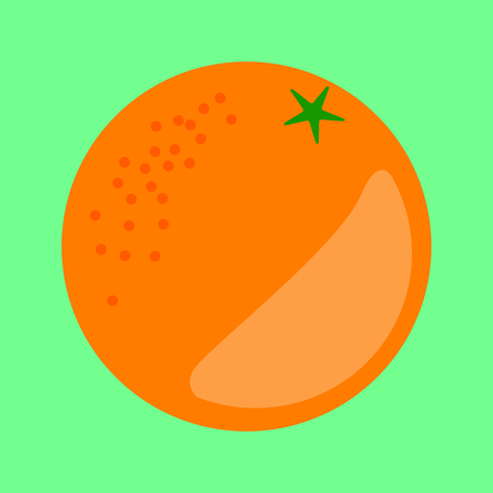 Orange fruit vector in a simple minimalism art style