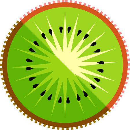 Kiwi fruit or kiwifruit slice vector in flat design style isolated