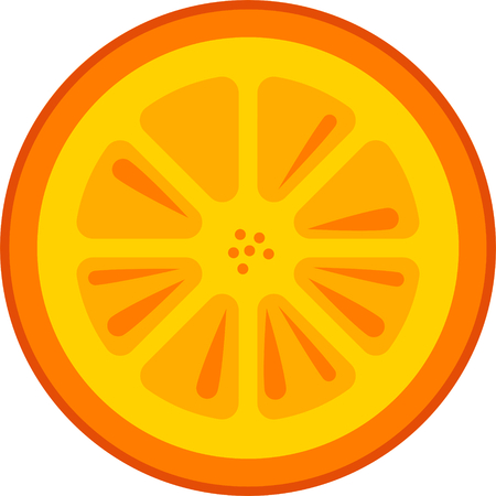 Orange fruit slice vector in flat design style isolated 矢量图像