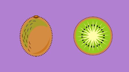 Kiwi fruit or kiwifruit whole and sliced in flat design vector style banner Illustration