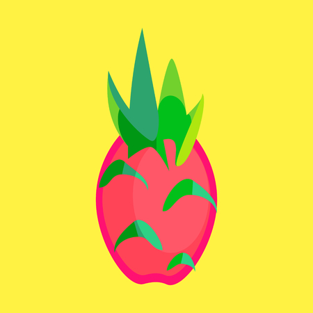 Dragon fruit or pitaya fruit vector in a simple minimalism art style