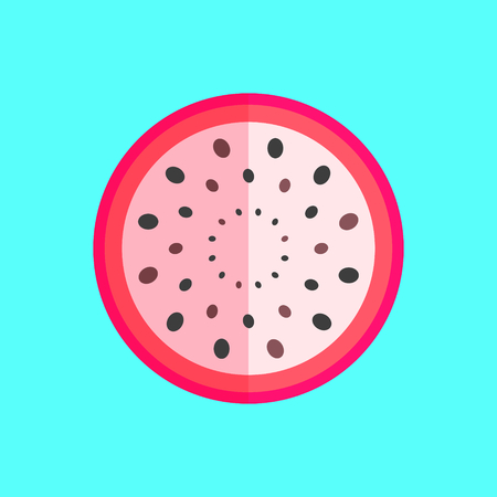 Dragon fruit or pitaya fruit slice vector in a simple minimalism art style