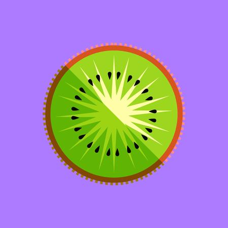 Kiwi fruit or kiwifruit slice vector in a simple minimalism art style