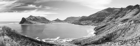 Panorama of Hout Bay near Cape Town, South Africa in black and white Stockfoto