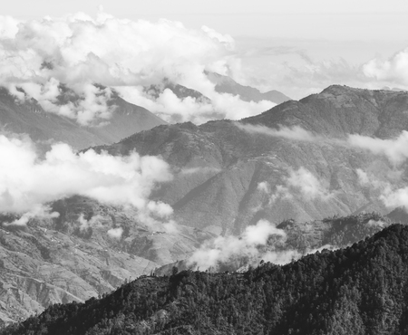 Landscape scenic of mountains around San Marcos in Guatemala in black and white Imagens