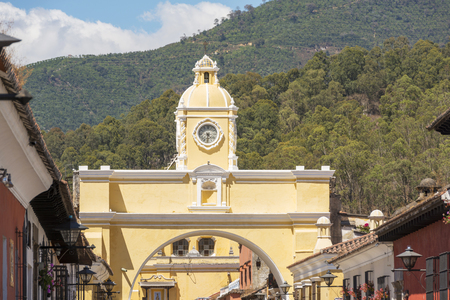 The Arco de Santa Catalina clock tower in Antigua, Guatemala in Central America Stock Photo