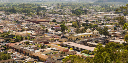 An aerial view of Antigua, Guatemala in Central America