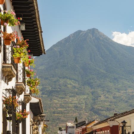 Spanish colonial views in Antigua, Guatemala Stock Photo