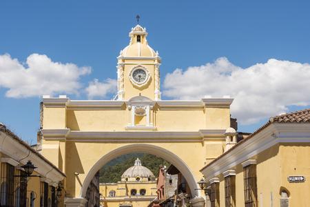 The Arco de Santa Catalina clock tower in Antigua, Guatemala in Central America