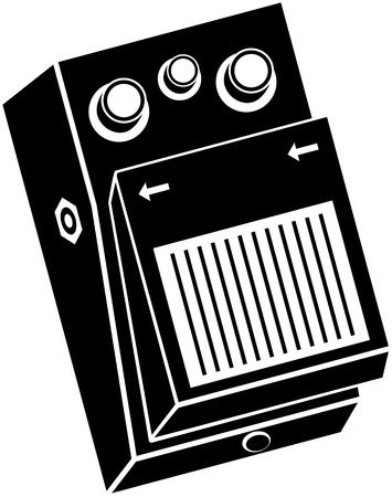 Gitarreneffektpedal-Vektorillustration in Schwarzweiss
