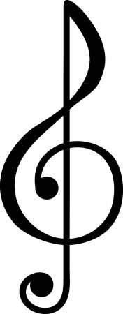 Treble clef symbol vector illustration in black and white