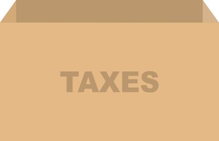Cardboard box vector for tax documents concept Çizim