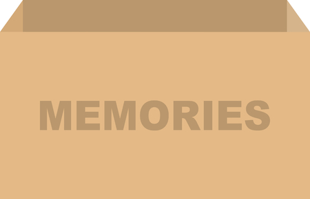 Cardboard box vector for memories or keepsake concept
