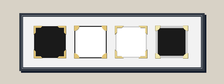 Vintage style photo frame vector with empty spaces for pictures with photo corners  イラスト・ベクター素材