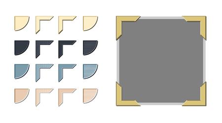 Vecteur de coins photo de style vintage avec une variété d'options de style et de couleur Vecteurs