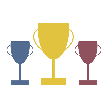 Vector trophies for the top three competitors in gold, silver and bronze Reklamní fotografie - 124713873
