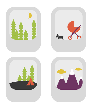 Assorted photo thumbnails of generic scenes in flat design vector style Ilustração