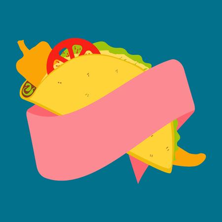 Vibrant vector design of Mexican tacos Векторная Иллюстрация
