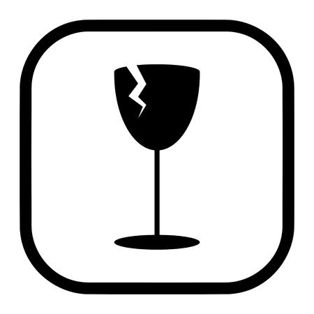 Fragile symbol vector of broken glass for packaging